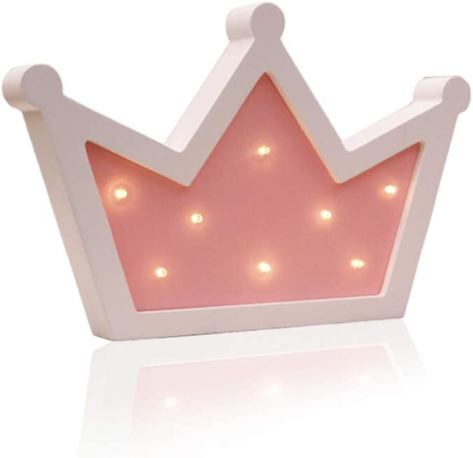 Crown LED Light Wall Decor, Queen Princess Kings Shaped Sign-Lighted,Crown Decor for Birthday Wedding Party, Christmas, Kids Room, Living Room Decor (Pink)