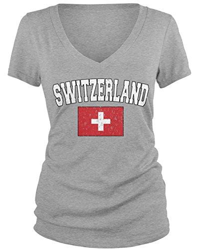 Switzerland Flag T-shirt (Amdesco Junior's Flag of Switzerland, Home Swiss Flag V-Neck T-Shirt, Heather Gray Medium)