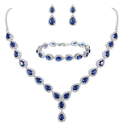 Blue Fashion Jewelry (BriLove Women's Wedding Bridal Teardrop CZ Infinity Figure 8 Y-Necklace Tennis Bracelet Dangle Earrings Set Sapphire Color Silver-Tone September Birthstone)