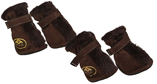 Designer Boots Dog (Pet Life Insulated Fashion Designer Plush Premium Fur-Comfort Suede Supportive Pet Dog Shoes Booties Boots, Large, Dark Brown)
