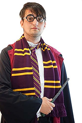 Hogwarts Themed Costumes (World Book Day-Fancy Dress-Hogwarts-Harry Potter WIZARD SET Scarf, Wand & Glasses - One Size)