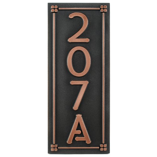 Frank Lloyd Eaglefeather Address Plaque 4 Numbers with Lines 7.5 x 18 - Raised Copper Metal Coated by Atlas Signs and Plaques