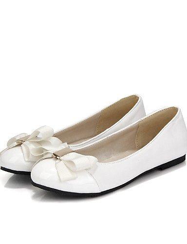 Finta Casual Ballerine Bianco White Piatto Donna Rosa arrotondata Scarpe ShangYi pelle Punta C4qaxAww