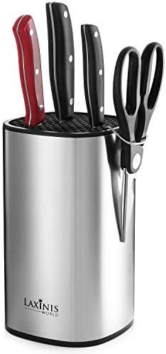 """Universal Knife Block, Stainless Steel Knife Holder, Knife Organizer, Modern Rectangular Design, 8.5"""" by 5"""""""
