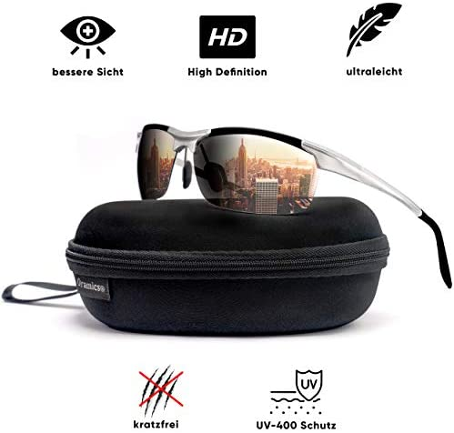 [Gesponsert]Oramics® 9 lagige Sport-Sonnenbrille Polarisiert Unisex mit starkem UV-400 Schutz - Hochwertiger Metallrahmen inkl. Aufbewahrung - Perfekt für Fahrrad, Motorrad, Auto + alle Outdoor-Aktivitäten