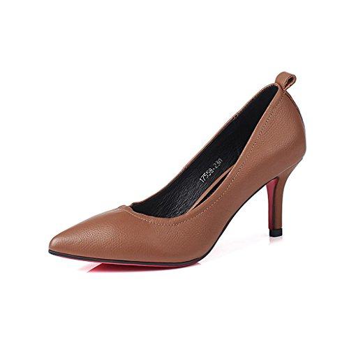 MuMa Court Shoe Ms High-Heeled Shoes Stilettos Wedding Graduation Jobs Bridal Shoes Waterproof 7cm Heel Brown k5vil