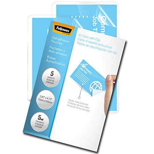 Fellowes Laminating Sheets, Self Adhesive, Business Card Size, 5 Mil, 5 Pack (5220101) (Adhesive Pouch Self)