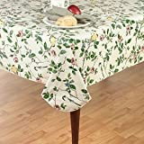 Newbridge Serene Morning Flannel Backed Indoor Outdoor Vinyl Tablecloth, 52-Inch by 52-Inch Oblong (Rectangle)