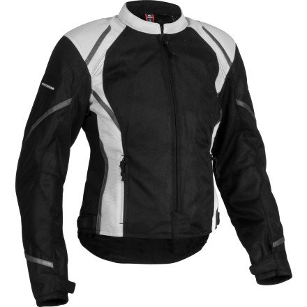 Firstgear Women's Mesh Tex Jacket (MEDIUM) (BLACK/SILVER)