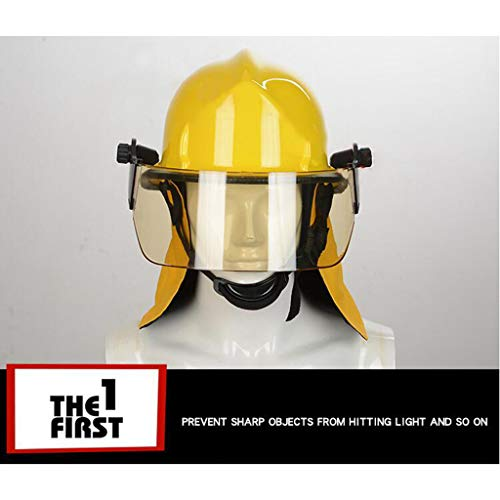 Hard Hat Fire Safety Helmet, Firemen Protection Hard Hat Rescue Site Safety Helmet, Flame Retardant High Temperature Resistance Mask by Moolo (Image #1)