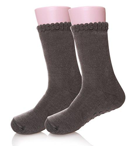Velice Men's Super Warm Fleece Lining Slipper Socks Cozy Winter Socks (Grey)