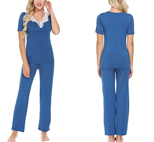 YRUS Women's Casual Cotton V-Neck Short-Sleeve Lace Trim Set Sleepwear Blue XXL