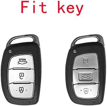 TM Royalfox red 3 Buttons Full Soft Chrome TPU Smart keyless Entry Remote Key Fob case Cover for 2016 2017 2018 2019 2020 Hyundai Tucson Elantra Sonata ix35
