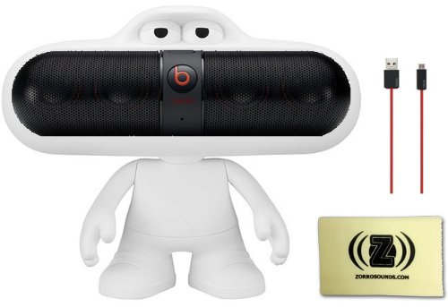 Beats by Dr. Dre Pill Portable Speaker (Black) Bundle with Beats Pill Dude (White), Beats USB Cable (Type A To Micro B) and Custom Designed Zorro Sounds Cleaning Cloth