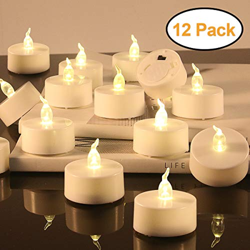 - LED Tealight Candles - Flameless Votive Candles - Battery Operated Tea Light Fake Candle - Unscented Realistic Tealight 200 Hours - Warm Yellow Flame - Wedding Party Decorations 12 Packs