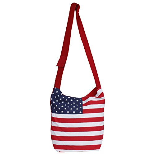 Purse American (Cute American Flag Canvas Sling Bag-Cum-Jhola Bag - Stars & Stripes Hobo Style (Made in India))