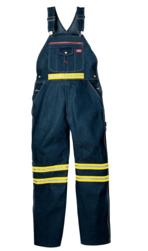 Dickies Men's Enhanced Visibility Bib Overall W Yellow Tape Non-Ansi, Indigo Blue, 36x34 High Visibility Overalls