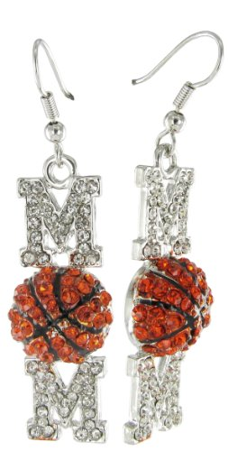 Basketball Mom Rhinestone Fish Hook Earrings with Clear and Orange Crystals and Black Enamel Stripes