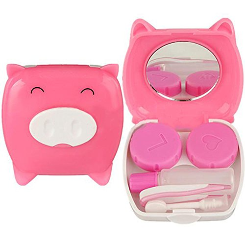 Polytree 2pcs Piggy Pig Design Travel Contact Lens Case Box Set Cleaning Holder Soak Storage (Random Color)