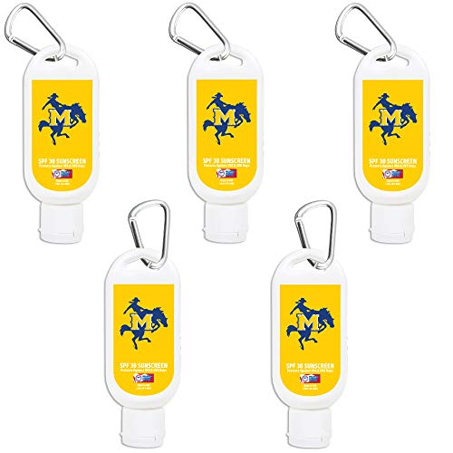 (McNeese State Cowboys Sport Sunscreen 5-Pack SPF 30 Travel Size with Clip, Water and Sweat Resistant 80 Minutes, UVA UVB Protection. Gifts for Men and Women.)