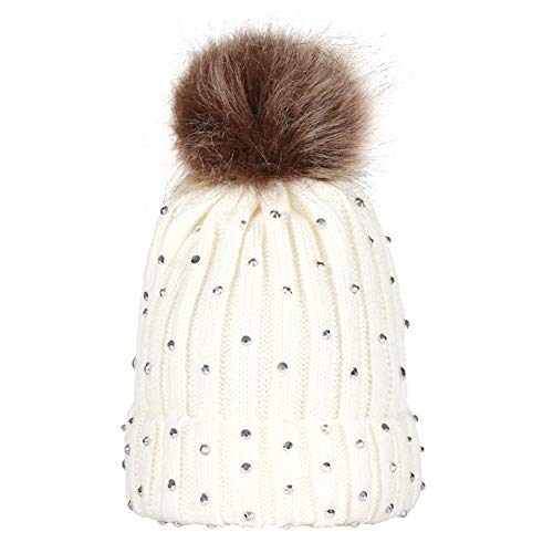 wsloftyGYd Pompom Rhinestone Decor Winter Kids Boy Girl Solid Color Beanie Cap Knitted Hat Kids Hair Ball Wool hat Knitted Cap Point Drill Baby hat Baby Beanie Cap White (Wool Drill Hat)