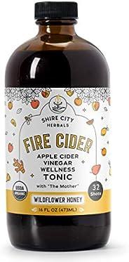 Fire Cider, Tonic, 16 oz, Wildflower Honey flavor, 32 Daily Shots, Apple Cider Vinegar, Whole, Raw, Organic, N