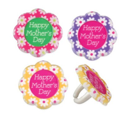 Happy Mother's Day Flowers Cupcake Rings - 24 pc