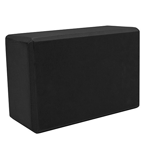 Crown Sporting Goods Large High Density Black Foam Yoga Block, 9 in x 6 in x 4 in