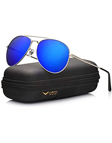 19dd19a78 LUENX Men Aviator Sunglasses Polarized - UV 400 Protection with case 60MM