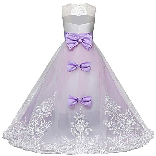 NNJXD Girls Princess Lilac Pageant Long Dress Kids Tulle Prom Ball Gowns Size (160) 12-13 Years Purple