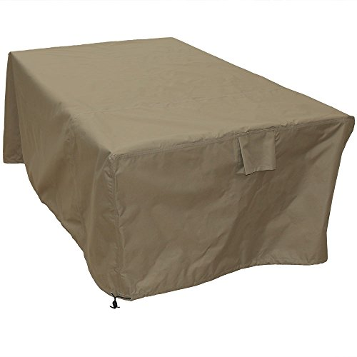 Sunnydaze Square Protective Outdoor Patio Dining Table Cover, Weather Resistant, Khaki by Sunnydaze Decor