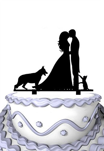 Meijiafei Bride and Groom With Dog Little Cat Wedding Custom Cake Topper