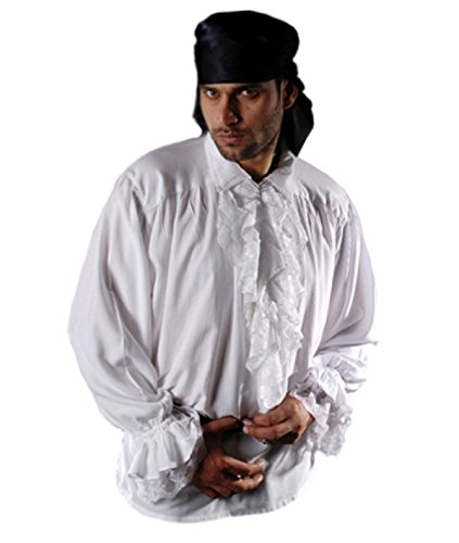 MENS FRILLY GOTHIC ROMANTIC BAGGY SHIRT REMOVABLE LACE FRILL BLACK WHITE XL-3X (Fits 2x/3x (Tag XL), White)