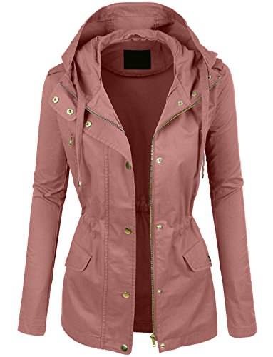 LE3NO Womens Lightweight Cotton Military Anorak Jacket with Hoodie by LE3NO