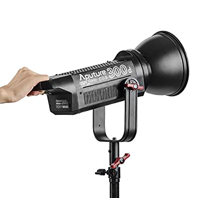 Aputure COB 300D LS C300D Daylight Balanced Led Video Light with Aputure Fresnel Lens Mount to Reach 142000lux@0.5m CRI95+ TLCI96+ 2.4G Remote Control 18dB Low Noise V-Mount Plate with Canvas Bag