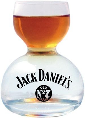 Jack Daniel's Chaser Jigger Double Bubble Shot Glass - 3 Oz