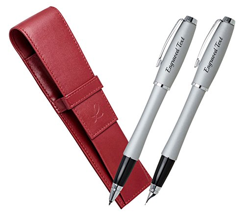 Valentine Gift Ideas For Men Parker Set - Fountain Pen & Rollerball Urban - Fast Track Silver CT + Leather Pouch Red