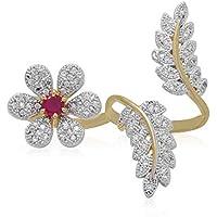 GADGET WEAR Gold American Diamond Double Finger Ring for Women