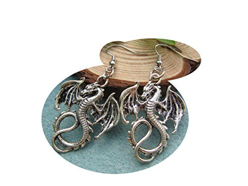 Antique Silver Dragon Earrings Gothic product image