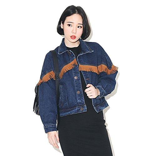 M-Queen Mujeres Casual Abrigos con Tassel Chaqueta de Mezclilla Jacket Manga Larga Tops para Primavera