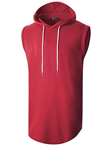 GIVON Mens Hipster Simple Longline Lightweight Pullover Sleeveless Hooded Shirt/DCF042-RED-S