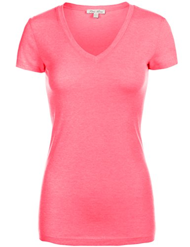 Basic Slim Fitted Short Sleeve Deep V-neck T-Shirt Tops