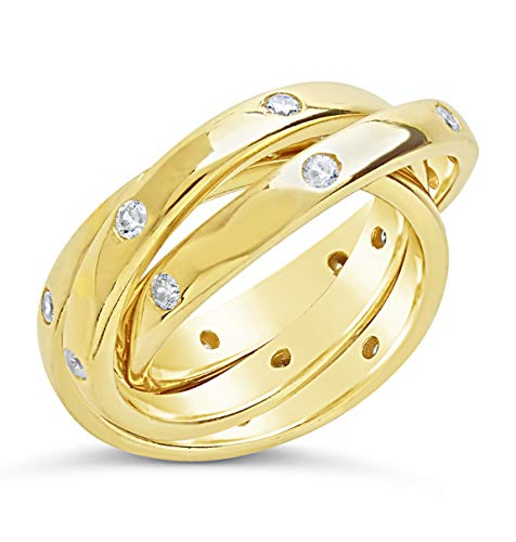 Sterling Forever - .925 Sterling Silver Gold Vermeil Triple Roll Etoile Ring with Cubic Zirconia (7) Cubic Zirconia Vermeil Ring