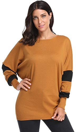 Argstar Women's Long Sleeve Shirt Knit Top Colletction Clearence Summer Autumn Homecoming (Shirt Autumn Top Brown)