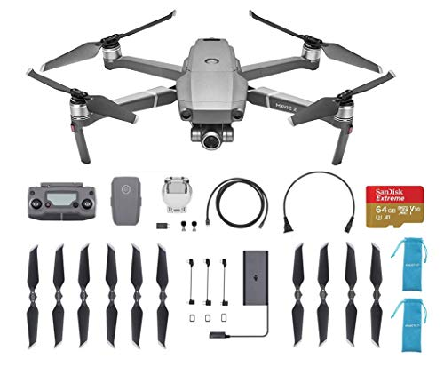 New DJI Mavic 2 Zoom Drone Quadcopter Travel Bundle with 64G Extreme SD Card and Extra Propellers and More