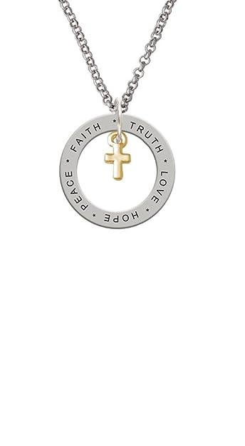 Amazon Com Gold Tone Super Mini Simple Cross Love Hope Faith