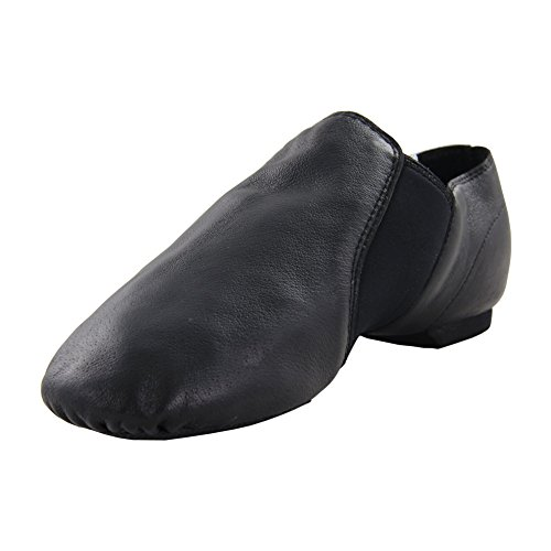 Msmushroom Womens Black Leather Jazz Dance Shoe6.5M US