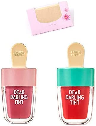 Etude House - Dear Darling Tint, tinte de agua (4,5 g, 2 colores, incluye papel de cáñamo natural, 50 unidades)