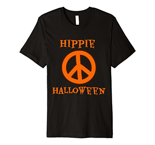 Hippie Clothes For Halloween (Mens Hippie Halloween Peace Sign Costume T-Shirt Large Black)