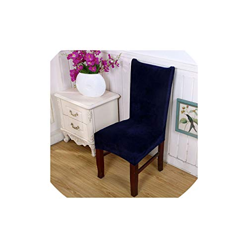 pleasantlyday Comfortable Wrinkle Resistant Chair Hood Removable Stretch Dining Chair Covers,Fox Velvet Navy Blue,Other (Near Patio Me Repair Furniture)